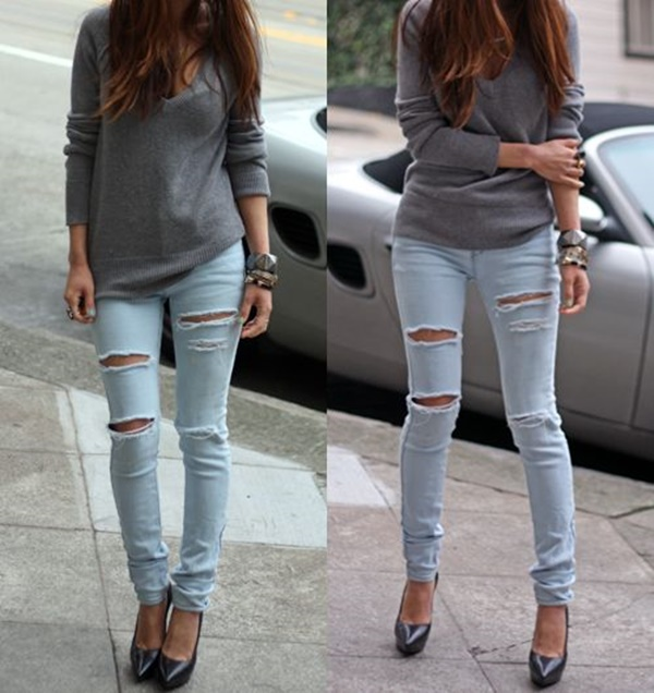 Grey Sweater + Rugged Denim