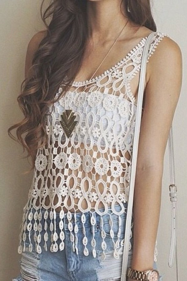 Loose Crochet Top with Shorts