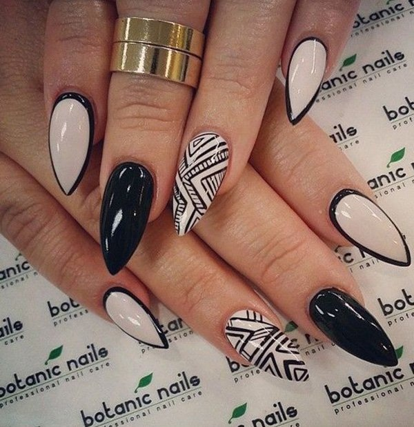 Most Attractive black and white nail art designs (14)