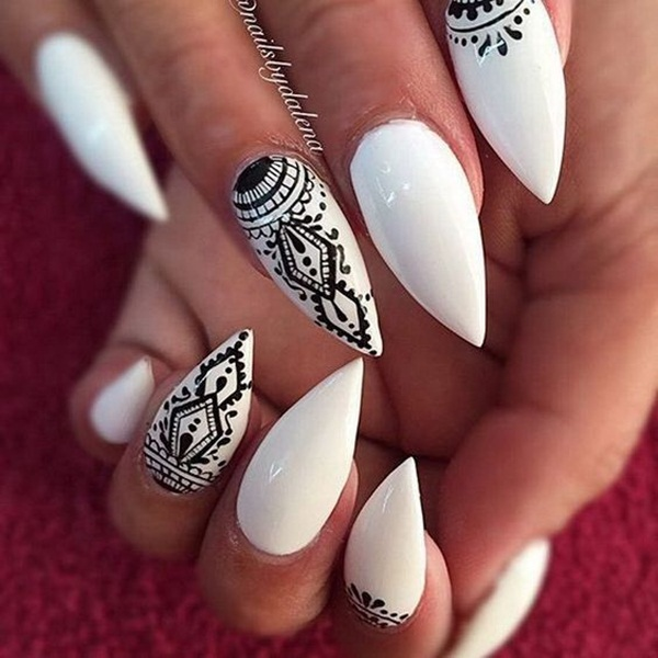 Most Attractive black and white nail art designs (34)