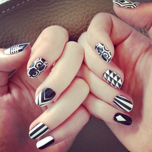 Most Attractive black and white nail art designs (37)