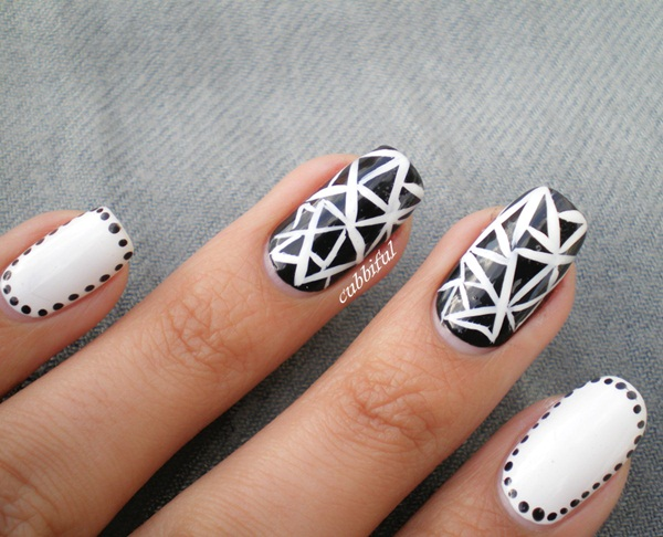 Most Attractive black and white nail art designs (42)
