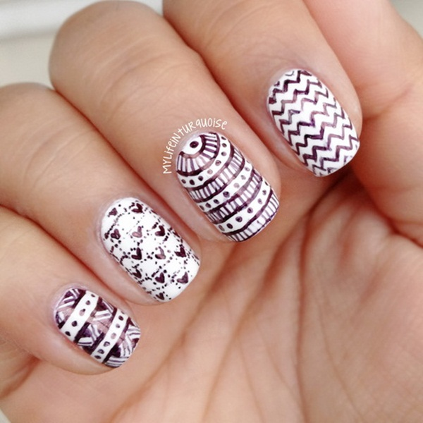 Most Attractive black and white nail art designs (50)