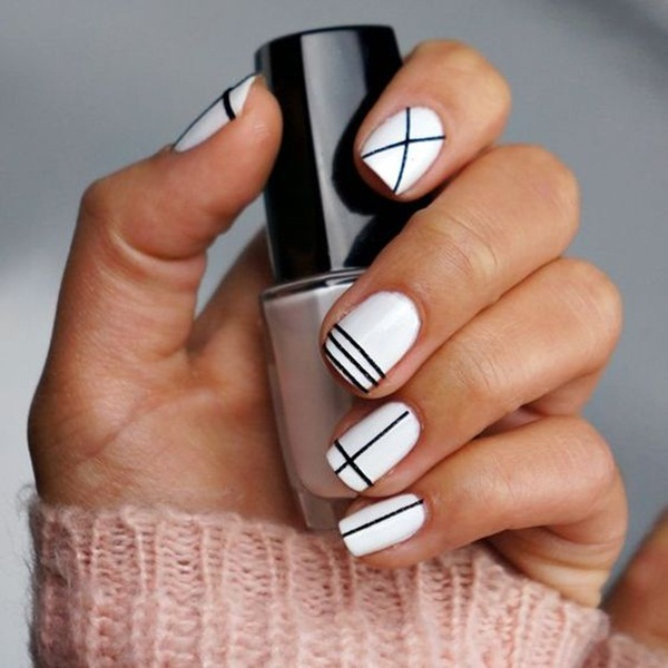 Most Attractive black and white nail art designs (55)