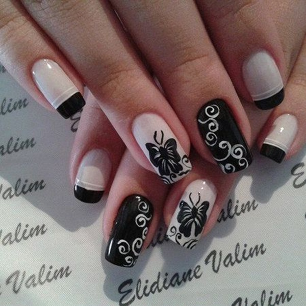 Most Attractive black and white nail art designs (62)