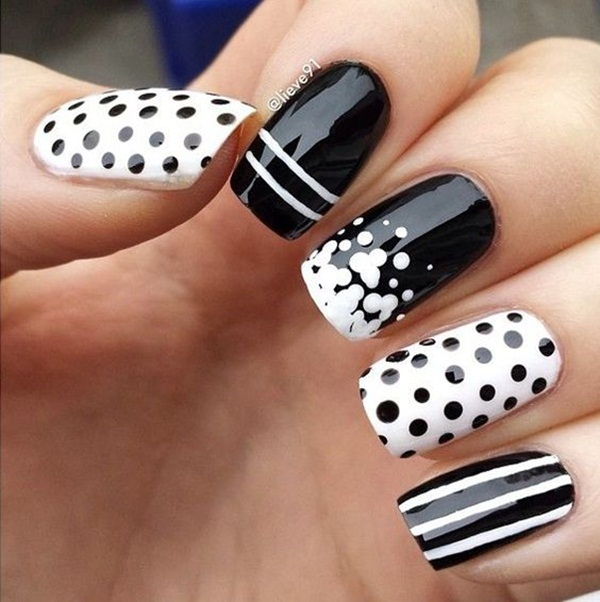 Most Attractive black and white nail art designs (67)
