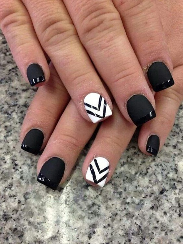 Most Attractive black and white nail art designs (68)