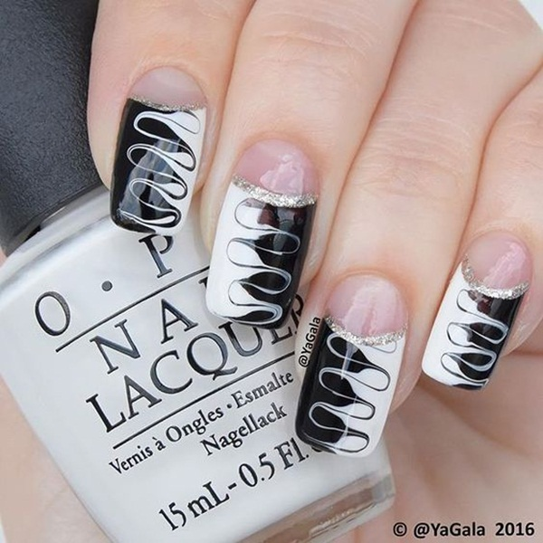 Most Attractive black and white nail art designs (70)