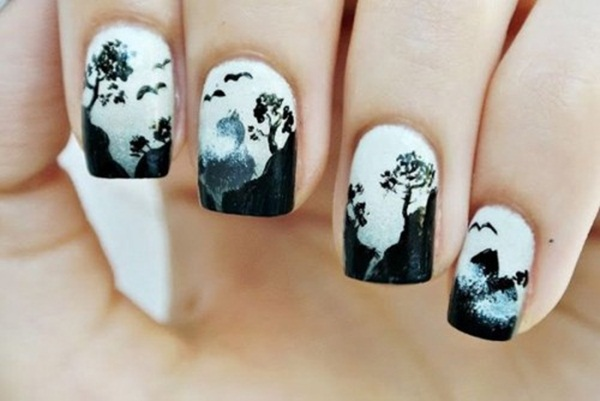 Most Attractive black and white nail art designs (71)