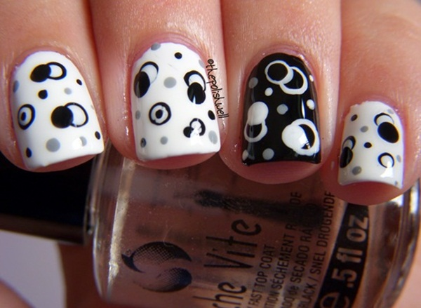 Most Attractive black and white nail art designs (75)