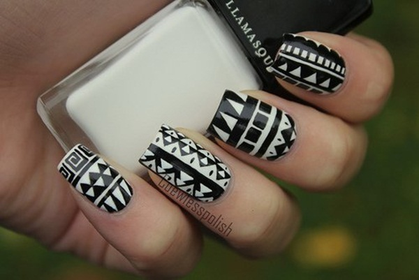 Most Attractive black and white nail art designs (84)