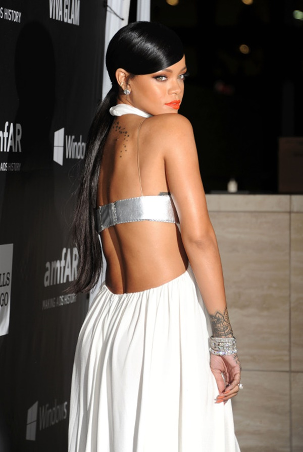 HOLLYWOOD, CA- OCTOBER 29: Recording artist Rihanna attends amfAR LA Inspiration Gala honoring Tom Ford at Milk Studios on October 29, 2014 in Hollywood, California.(Photo by Jeffrey Mayer/WireImage) *** Local caption *** Rihanna